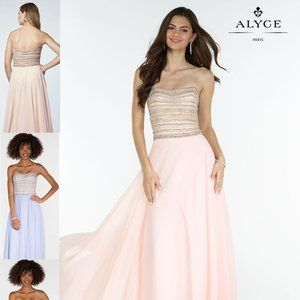 Alyce Blush and Gold Prom or Bridesmaid Strapless